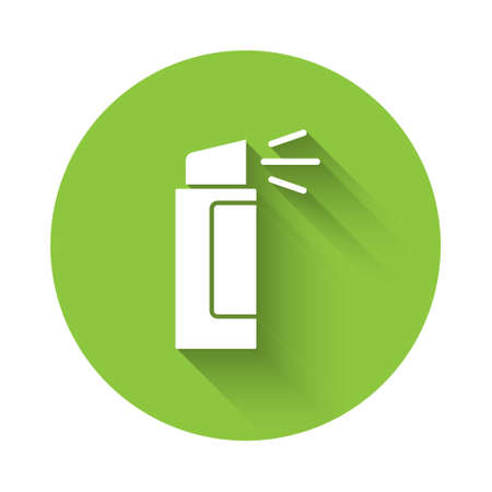White Pepper spray icon isolated with long shadow. OC gas. Capsicum self defense aerosol. Green circle button. Vector