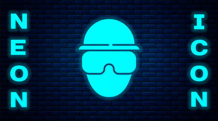 Glowing neon Special forces soldier icon isolated on brick wall background. Army and police symbol of defense. Vector