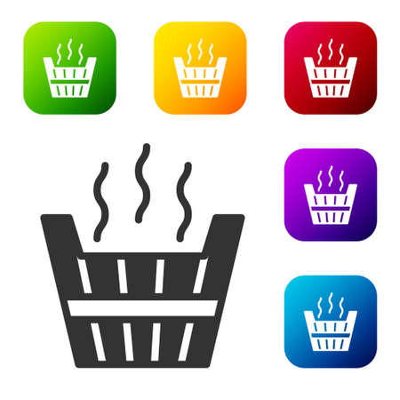 Black Sauna bucket icon isolated on white background. Set icons in color square buttons. Vector Stock Illustratie