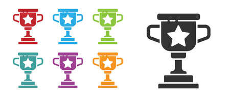 Black Award cup icon isolated on white background. Winner trophy symbol. Championship or competition trophy. Sports achievement sign. Set icons colorful. Vector