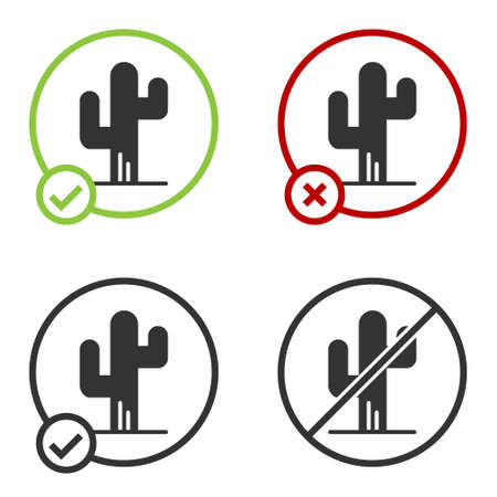 Black Cactus icon isolated on white background. Circle button. Vector  イラスト・ベクター素材
