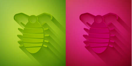 Paper cut Larva insect icon isolated on green and pink background. Paper art style. Vector Illustration