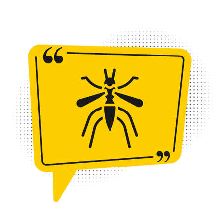 Black Mosquito icon isolated on white background. Yellow speech bubble symbol. Vector