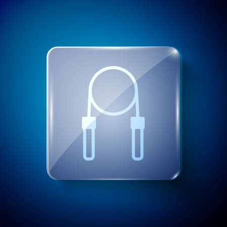 White Jump rope icon isolated on blue background. Skipping rope. Sport equipment. Square glass panels. Vector