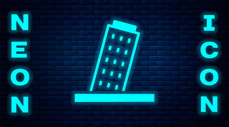 Glowing neon Leaning Tower in Pisa icon isolated on brick wall background. Italy symbol. Vector
