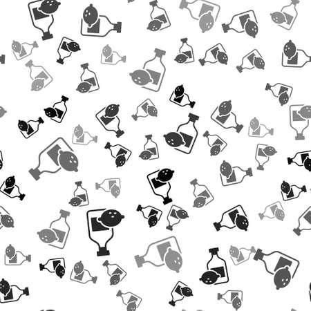 Black Limoncello bottle icon isolated seamless pattern on white background. Bottle of fresh homemade lemonade. Vector