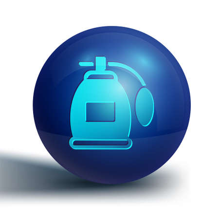 Blue Perfume icon isolated on white background. Blue circle button. Vector