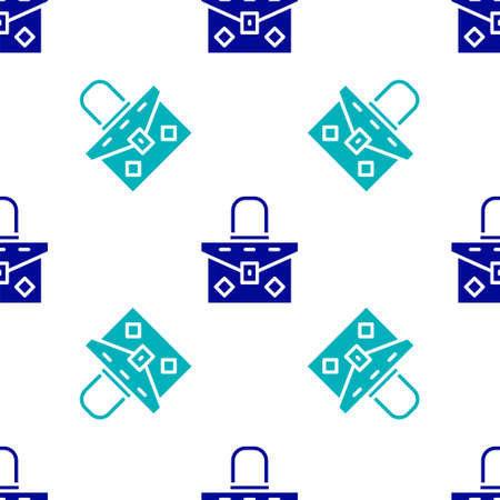 Blue Handbag icon isolated seamless pattern on white background. Female handbag sign. Glamour casual baggage symbol. Vector
