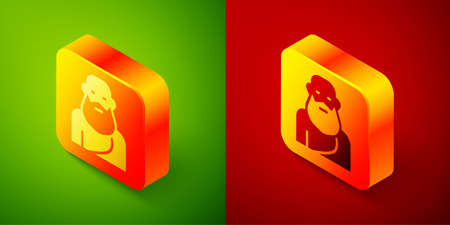 Isometric Socrates icon isolated on green and red background. Sokrat ancient greek Athenes ancient philosophy. Square button. Vector