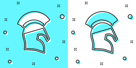 Black line Greek helmet icon isolated on green and white background. Antiques helmet for head protection soldiers with a crest of feathers or horsehair. Random dynamic shapes. Vector