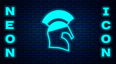 Glowing neon Greek helmet icon isolated on brick wall background. Antiques helmet for head protection soldiers with a crest of feathers or horsehair. Vector
