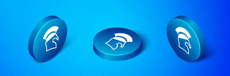 Isometric Greek helmet icon isolated on blue background. Antiques helmet for head protection soldiers with a crest of feathers or horsehair. Blue circle button. Vector
