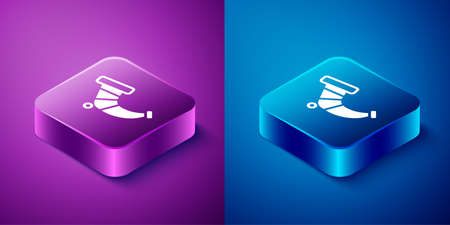 Isometric Hunting horn icon isolated on blue and purple background. Square button. Vector Vettoriali