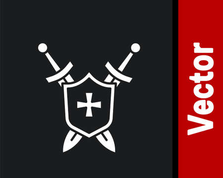 White Medieval shield with crossed swords icon isolated on black background. Vector