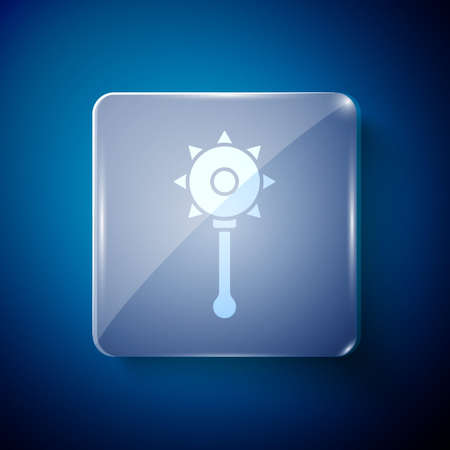 White Medieval chained mace ball icon isolated on blue background. Medieval weapon. Square glass panels. Vector