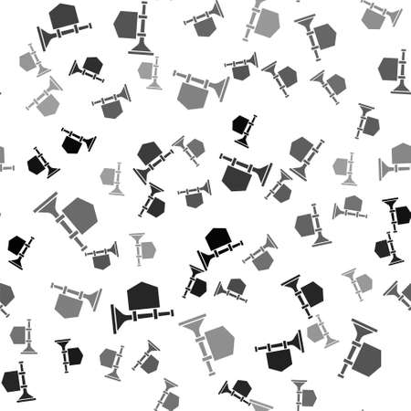 Black Trumpet with flag icon isolated seamless pattern on white background. Musical instrument trumpet. Vector  イラスト・ベクター素材