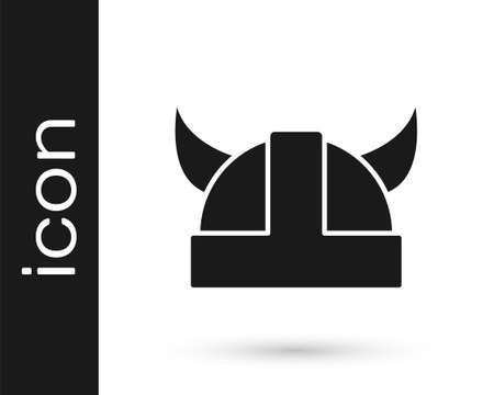 Black Viking in horned helmet icon isolated on white background. Vector