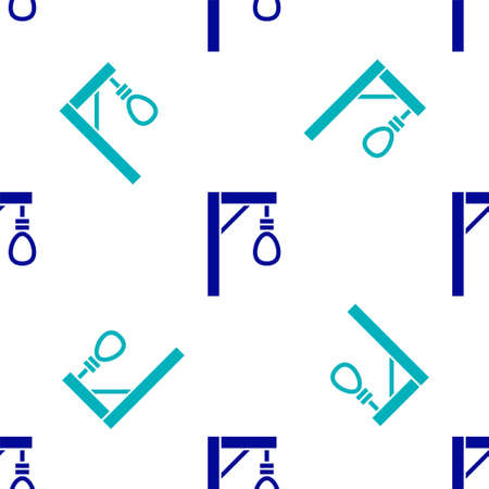 Blue Gallows rope loop hanging icon isolated seamless pattern on white background. Rope tied into noose. Suicide, hanging or lynching. Vector