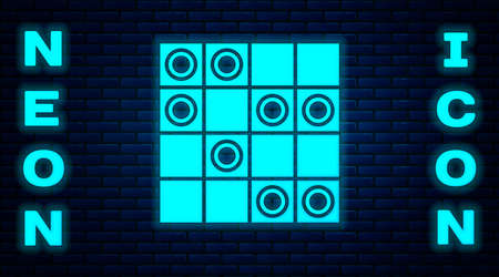 Glowing neon Board game of checkers icon isolated on brick wall background. Ancient Intellectual board game. Chess board. White and black chips. Vector