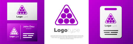 Logotype Billiard balls in a rack triangle icon isolated on white background. Logo design template element. Vector