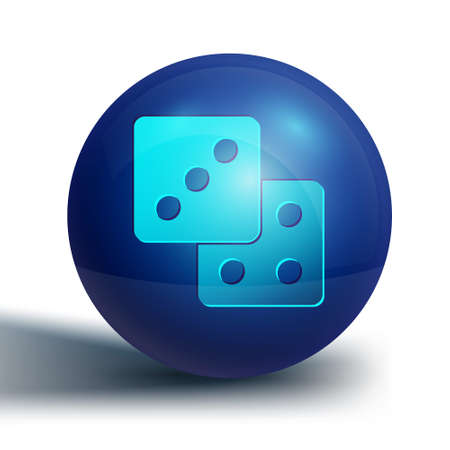 Blue Game dice icon isolated on white background. Casino gambling. Blue circle button. Vector