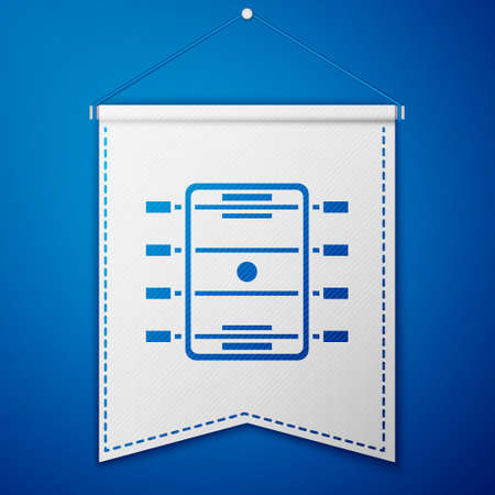 Blue Hockey table icon isolated on blue background. Football table. White pennant template. Vector