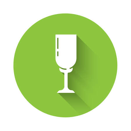 White Glass of champagne icon isolated with long shadow. Green circle button. Vector
