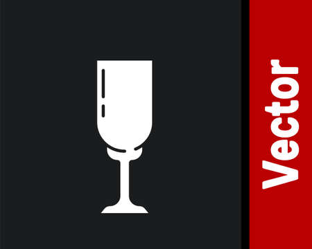 White Glass of champagne icon isolated on black background. Vector