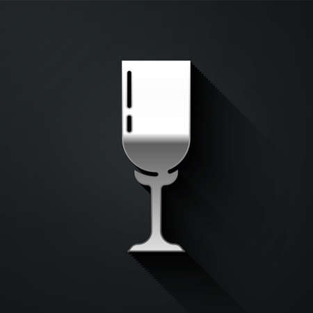 Silver Glass of champagne icon isolated on black background. Long shadow style. Vector