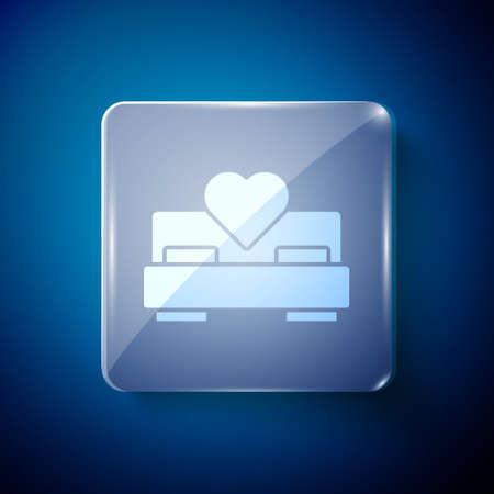 White Bedroom icon isolated on blue background. Wedding, love, marriage symbol. Bedroom creative icon from honeymoon collection. Square glass panels. Vector