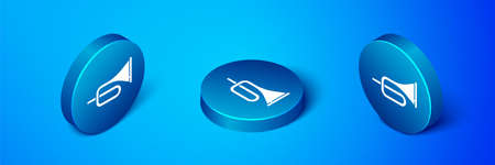 Isometric Musical instrument trumpet icon isolated on blue background. Blue circle button. Vector