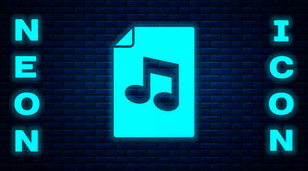 Glowing neon Music book with note icon isolated on brick wall background. Music sheet with note stave. Notebook for musical notes. Vector