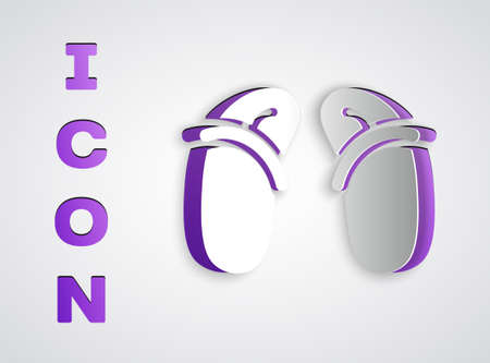 Paper cut Flip flops icon isolated on grey background. Beach slippers sign. Paper art style. Vector  イラスト・ベクター素材