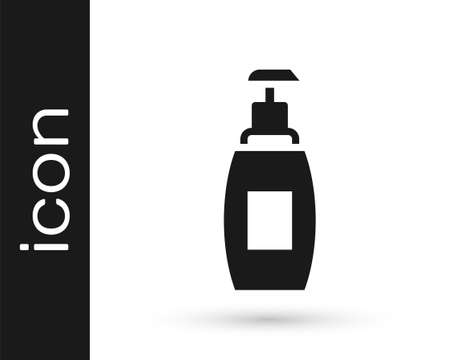 Black Bottle of liquid antibacterial soap with dispenser icon isolated on white background. Antiseptic. Disinfection, hygiene, skin care. Vector
