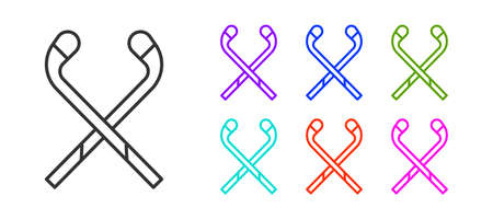 Black line Ice hockey sticks icon isolated on white background. Set icons colorful. Vector Illustration