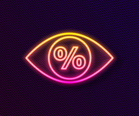 Glowing neon line Eye with percent icon isolated on black background. Shopping tag sign. Special offer sign. Discount coupons symbol. Vector Illustration