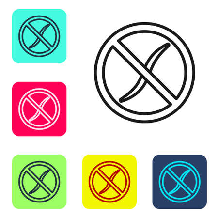 Black line Anti worms parasite icon isolated on white background. Set icons in color square buttons. Vector