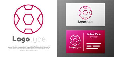 Logotype line Football ball icon isolated on white background. Soccer ball. Sport equipment. Logo