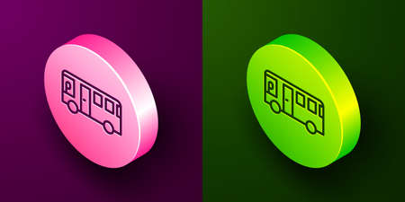 Isometric line Bus icon isolated on purple and green background. Transportation concept. Bus tour transport sign. Tourism or public vehicle symbol. Circle button. Vector