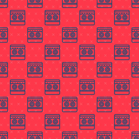 Blue line Shooting gallery icon isolated seamless pattern on red background. Vector Ilustración de vector