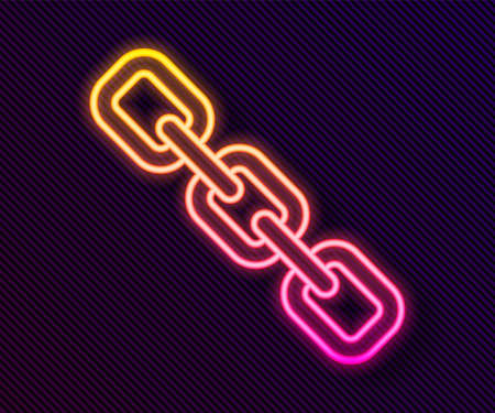 Glowing neon line Chain link icon isolated on black background. Link single. Hyperlink chain symbol. Vector