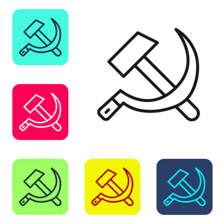 Black line Hammer and sickle USSR icon isolated on white background. Symbol Soviet Union. Set icons in color square buttons. Vector
