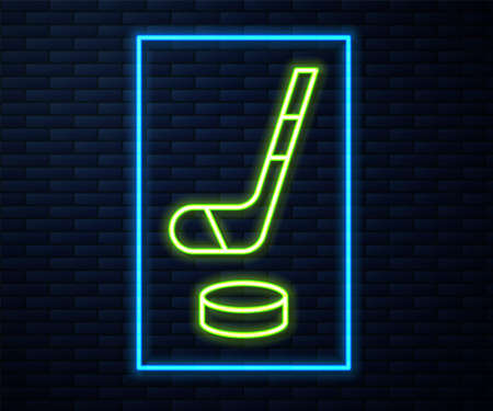 Glowing neon line Ice hockey stick and puck icon isolated on brick wall background. Vector