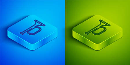 Isometric line Trumpet icon isolated on blue and green background. Musical instrument trumpet. Square button. Vector