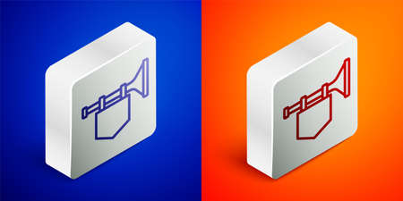 Isometric line Trumpet with flag icon isolated on blue and orange background. Musical instrument trumpet. Silver square button. Vector  イラスト・ベクター素材