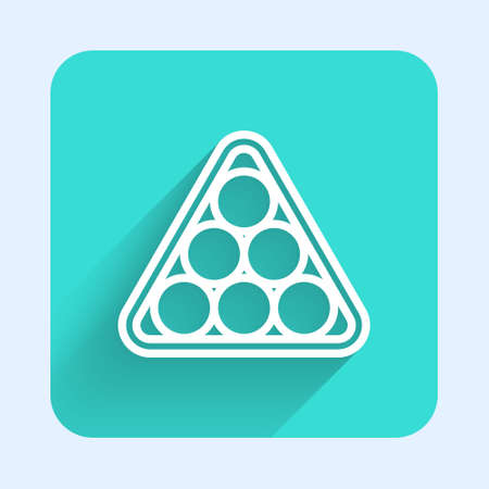 White line Billiard balls in a rack triangle icon isolated with long shadow. Green square button. Vector 向量圖像
