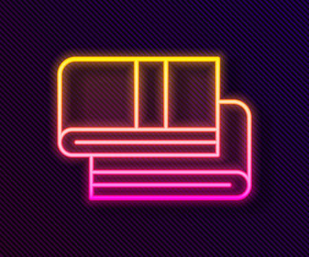 Glowing neon line Towel stack icon isolated on black background. Vector