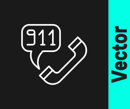 White line Telephone with emergency call 911 icon isolated on black background. Police, ambulance, fire department, call, phone. Vector