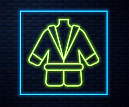 Glowing neon line Bathrobe icon isolated on brick wall background. Vector Illusztráció