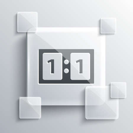 Grey Sport mechanical scoreboard and result display icon isolated on grey background. Square glass panels. Vector Illustration